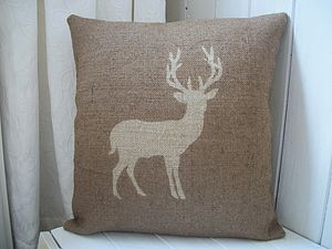 Deer Hessian Cushion Cover - cushions