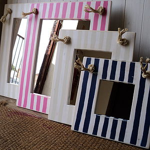 Nautical Striped Mirror With Rope - mirrors