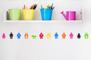 Pack Of Robot Wall Stickers - stocking fillers under £15