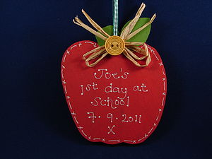 First Day At School Apple Plaque - personalised