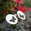 Silver Round Butterfly Studs