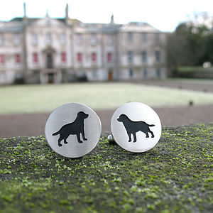 Silver Dog Cufflinks - wedding jewellery