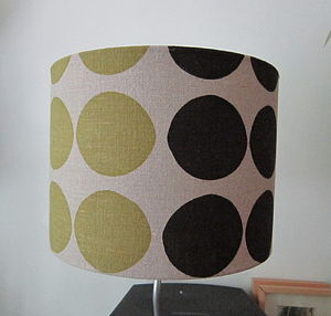 Linen Hand Printed Lampshade Circles - living room