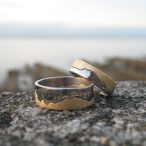 Personalised Two Tone Gold Coastline - rings