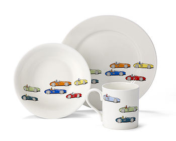 Vintage Racing Car China Tableware