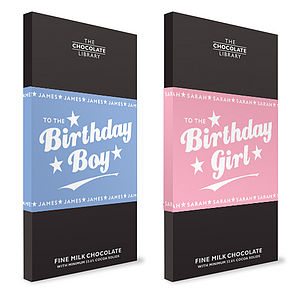 Birthday Girl & Boy Chocolate Bars - food & drink gifts
