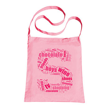 Personalised Word Cloud Sling Tote Bag