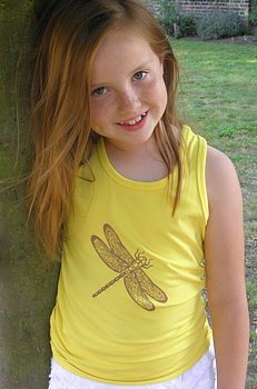 Girl's Dragonfly Racer Back Vest Yellow