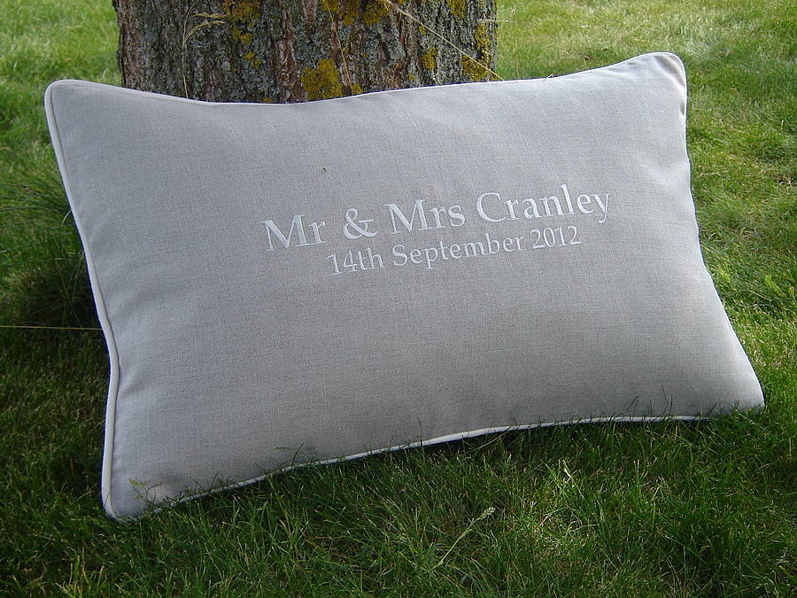 Embroidered wedding cushion by jonny s sister