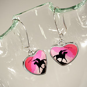Cowboy Heart Drop Earrings - earrings