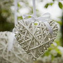 small white hanging wicker heart