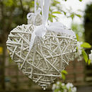 Large White Hanging Wicker Heart