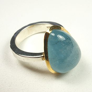 Aquamarine Ring, Gold Plate And Silver
