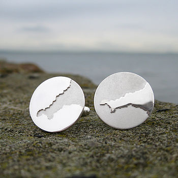 Cornwall Coastline Map Cufflinks