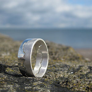 Men's Coastline Map Ring - wedding jewellery
