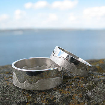 Personalised Silver Coastline Map Ring