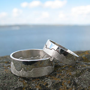 Personalised Silver Coastline Map Ring - for him