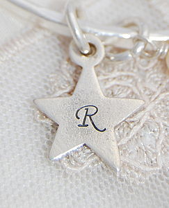 Personalised Silver Initial Star Charm