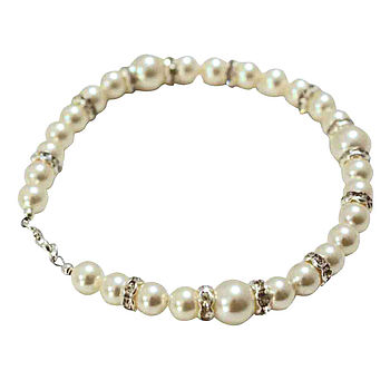 Pristine Pearl And Diamante Bridal Bracelet