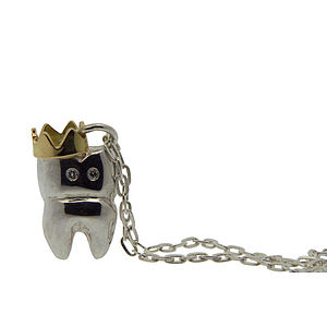 Crowned Tooth Necklace. Silver Gold & Diamond - necklaces & pendants