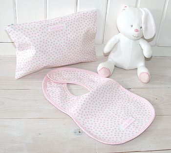 Baby Bib and Zip Bag Gift Set