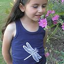 Girl's Dragonfly Racer Back Vest Navy