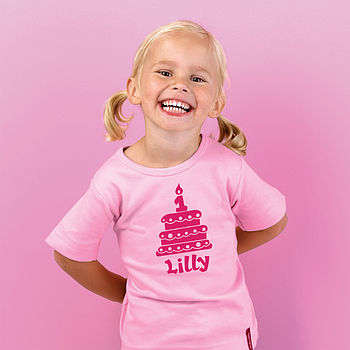 1st Birthday T-shirt - Light Pink/Fuchsia text