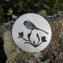 Silver Round Long Tailed Tit Brooch