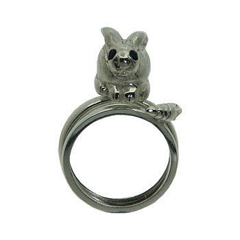 silver bunny and carrot ring set