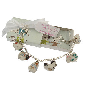 Cat Dog Animal Handmade Locket Charm Bracelet - children's jewellery