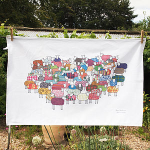 Colourful Sheep Tea Towel - kitchen accessories