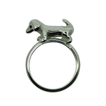 Sausage Dog Silver And Black Diamond Ring