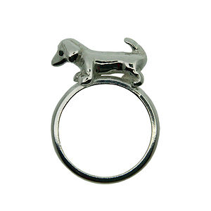 Sausage Dog Silver And Black Diamond Ring - women's jewellery