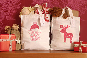 Hand Printed Personalised Christmas Tote - christmas decorations
