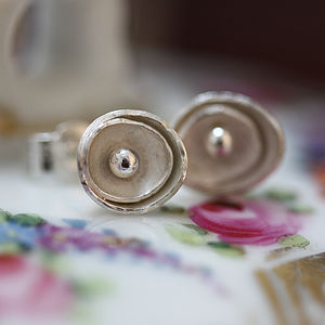Handmade Silver Wild Roses Stud Earrings
