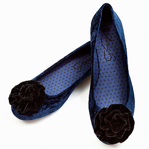 Midnight Velvet Ballerina Shoes *RRP £45* - shoes