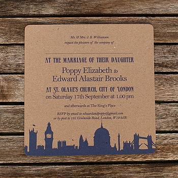 Recycled London Theme Wedding Invitations