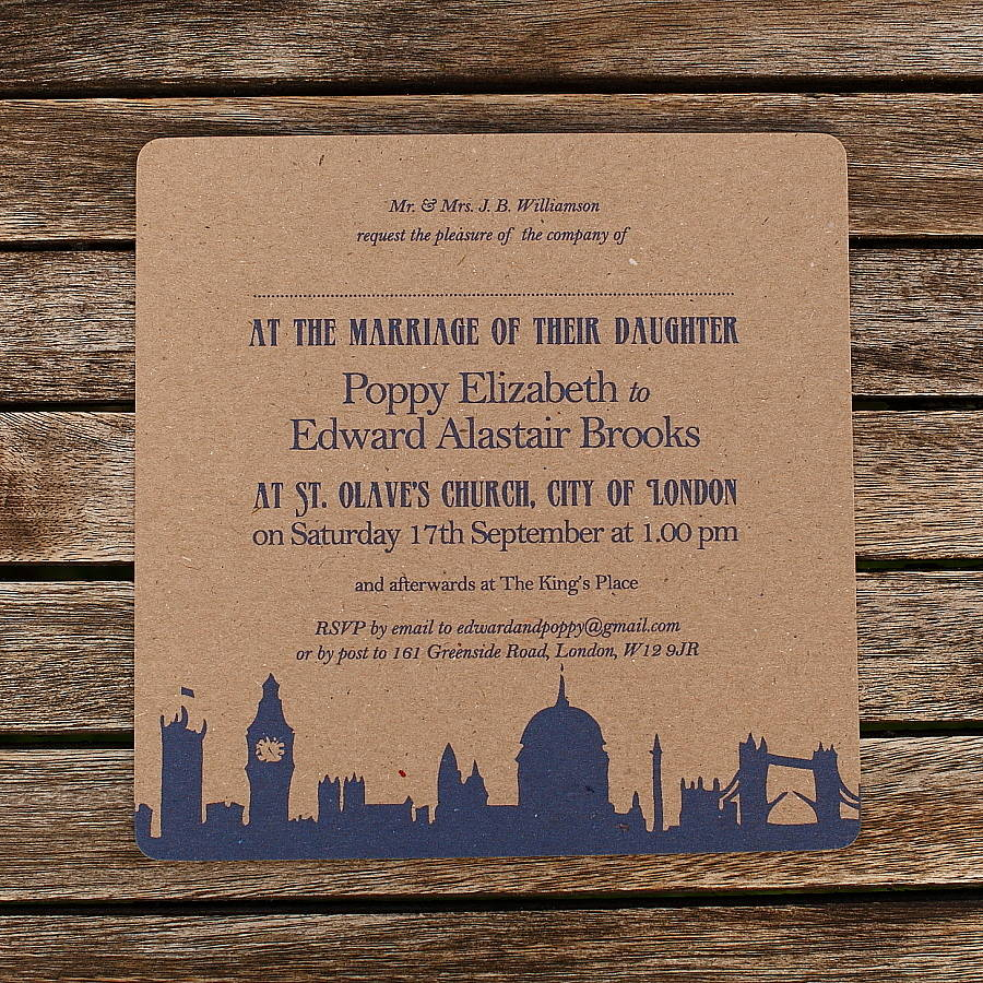 Recycled Wedding Invitations: Recycled London Theme Wedding Invitations By Artcadia