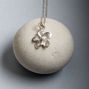 Personalised Silver Flower Necklace - necklaces & pendants
