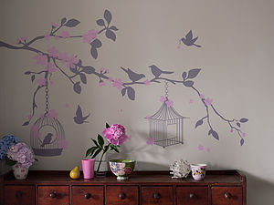 Bird Cage Wall Stickers - decorative accessories