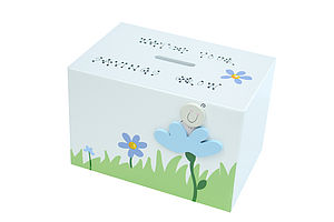 Personalilsed Blue Flower Money Box