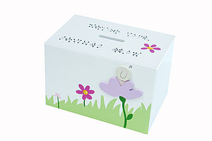 Personalised Pink Flower Money Box