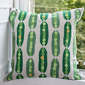 Peas In A Pod Cushion - embroidered cushions