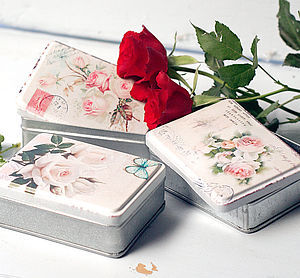 Set Of Three Vintage Rose Storage Tins - tins