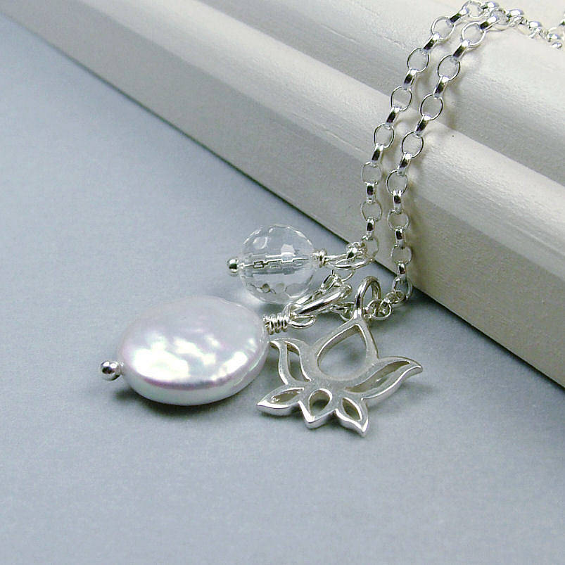 Lotus And Pearl Sterling Silver Necklace