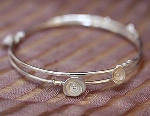 Handmade Wild Roses Double Bangle - bracelets & bangles