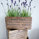 Vintage Fishmonger Boxes with assorted names and addresses.
