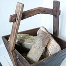 Reclaimed Wooden Square Bucket with Pegged Joint Handle