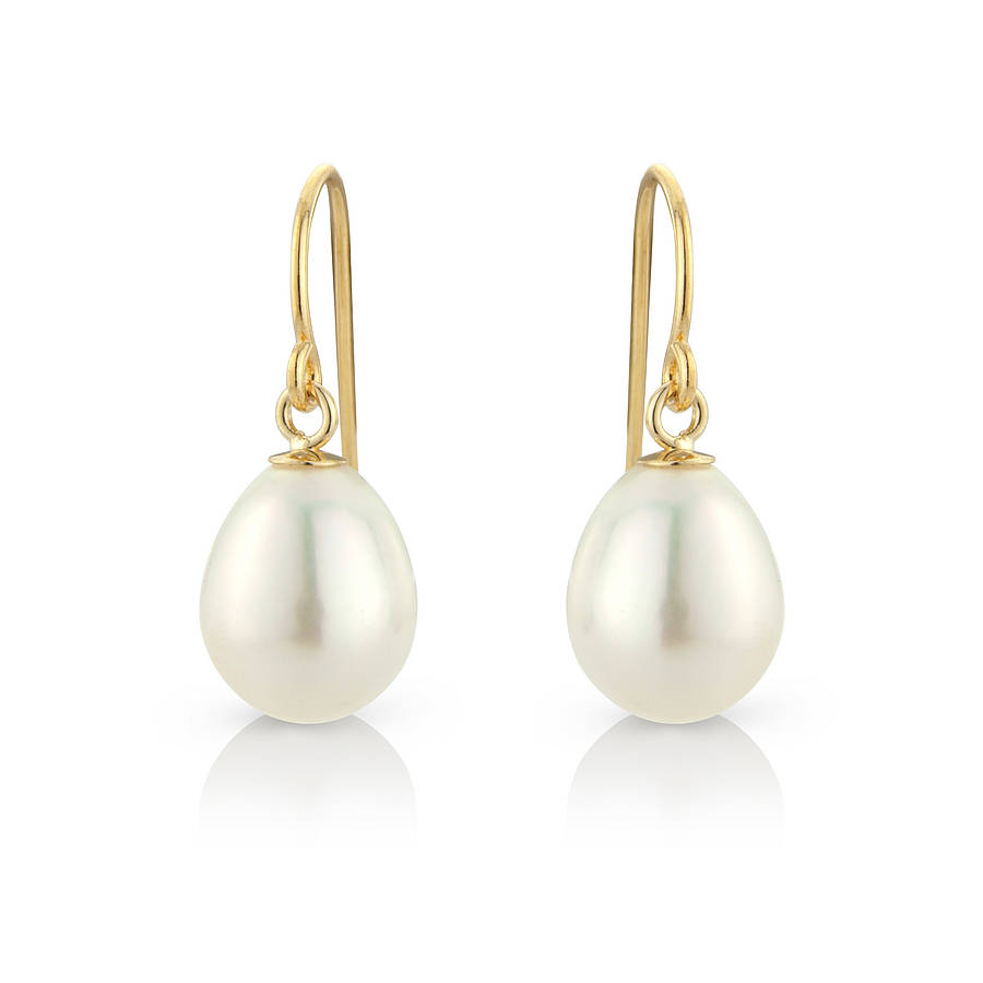 tear drop pearl earrings on silver hooks by argent of ...