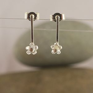 Silver Forget Me Not Drop Stud Earrings